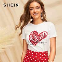 Shein senhoras simples em torno do pescoço impressão gráfica t camisa verão casual minimalista manga curta carta feminina tshirt topos