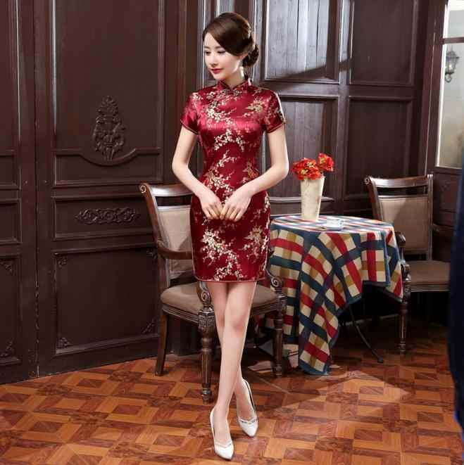 89a610b19 ... High Fashion Black Chinese Lady Satin Cheongsam Summer New Short Qipao  Vintage Sexy Evening Dress Flower ...