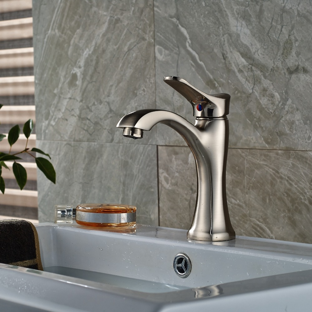 Single Handle Hole Vanity Sink Mixer Tap Brushed Nickel Bathroom Basin Faucet стоимость