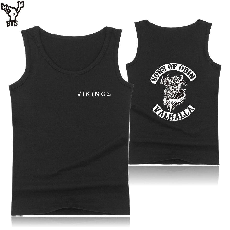 kpop SONS OF ODIN VALHALLA Bodybuilding   Tank     Tops   Men Black O-Neck   Tank     Top   Mens Hip Hop Vikings Casual Work Out Summer Vest 4XL