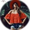 BellyAnna 2016 Del Verano Nuevas Mujeres Atractivas Boho Moda Opacidad de Encaje rojo Off Shouder Blusa Entallada de Manga Corta Sin Respaldo Beach blusa