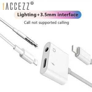 Image 2 - ! ACCEZZ 2 في 1 الإضاءة شاحن الاستماع محول ل آيفون X 7 شحن محول 3.5 مللي متر جاك AUX الفاصل conttador آيفون