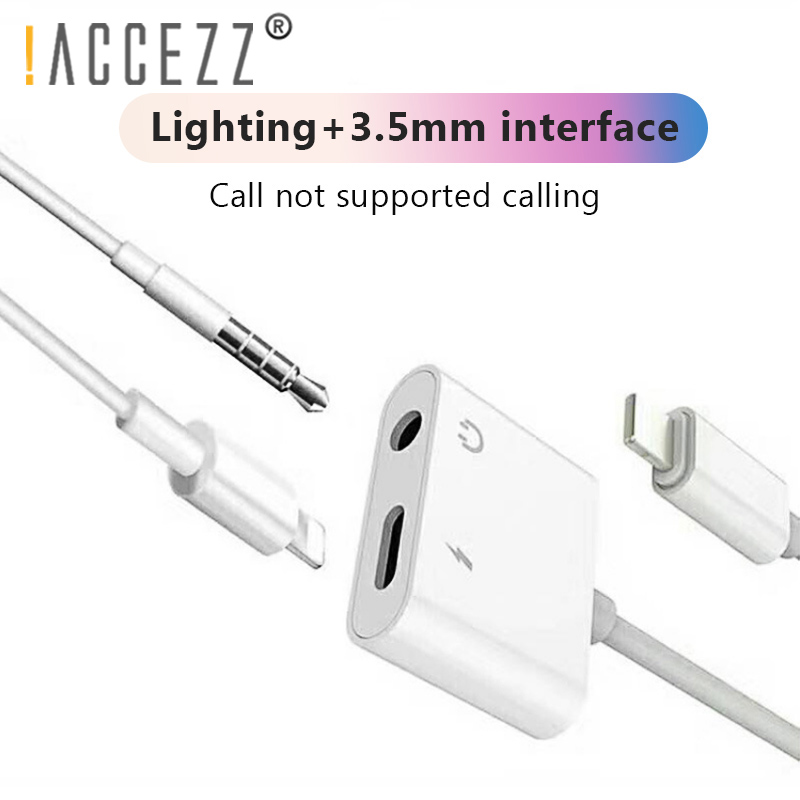 Image 2 - !ACCEZZ 2 in 1 Lighting Charger Listening Adapter For iphone X 7 Charging Adapter 3.5mm Jack AUX Splitter adaptador For iphone-in Phone Adapters & Converters from Cellphones & Telecommunications