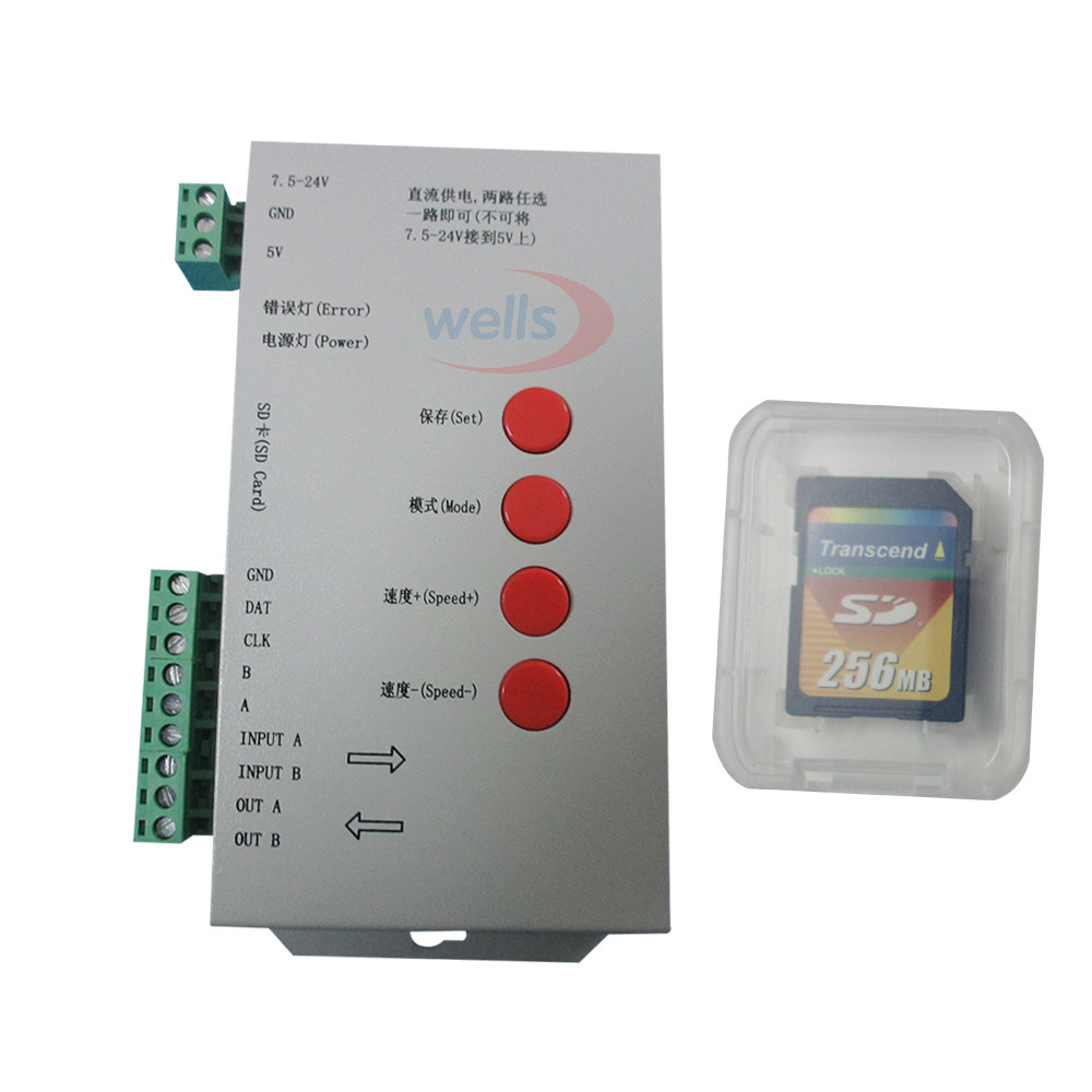 ФОТО LED controller T1000S DC5 ~ 24V SD card Pixels Controller for WS2801 WS2811 WS2812B LPD6803 LED 2048