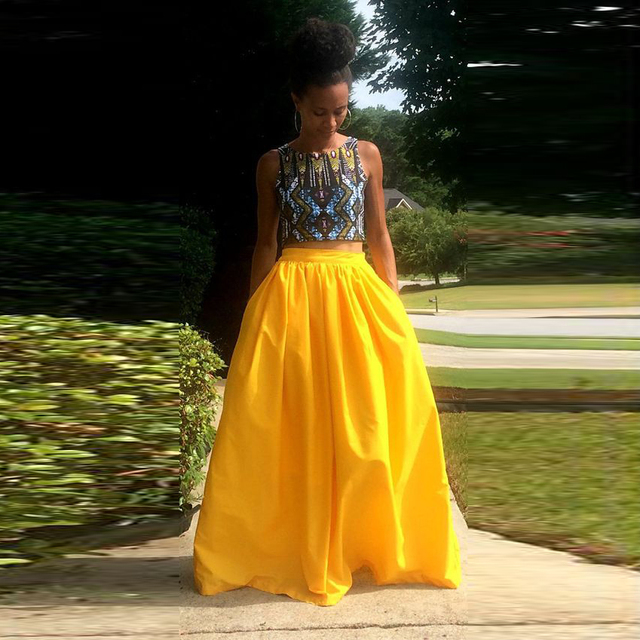 32b95f81e5 Fashion African Style Yellow Full Maxi Skirt Zipper Band Waist A Line Floor  Length Long Skirt