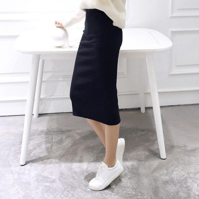 4f933051328 новинка юбка-карандаш женская трикотажная юбка эластичная талия длиной до  икры корейская летняя осенняя повседневная