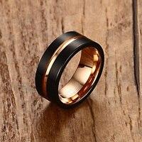 Mens Anillos 8mm negro cepillado carburo de tungsteno anillo de color rosa de oro incrustaciones groove Flat cut Edge boda de los hombres banda joyería masculina