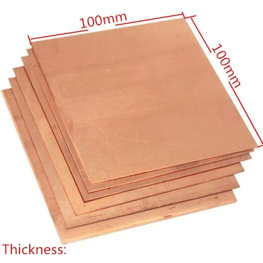 Placa de chapa de cobre de pureza del 99.9%, buen comportamiento mecánico y estabilidad térmica, 100x100x0,8mm, 1 Uds.