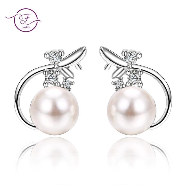 Stud earrings for women silver 925 jewelry Round Freshwater Pearls AAA  Zircon Flower Engagement Wedding Party Korean Style