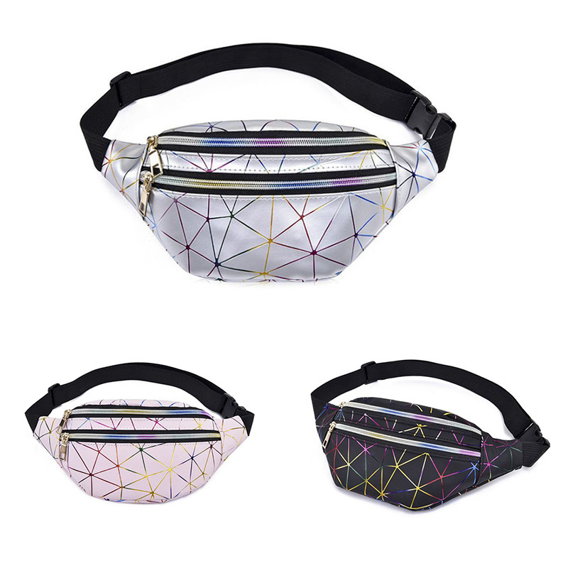 Laser Holographic Waist Bags Women Pink Silver Fanny Pack Female Belt Bag Black Geometric Waist Packs Laser Chest Phone Pouch