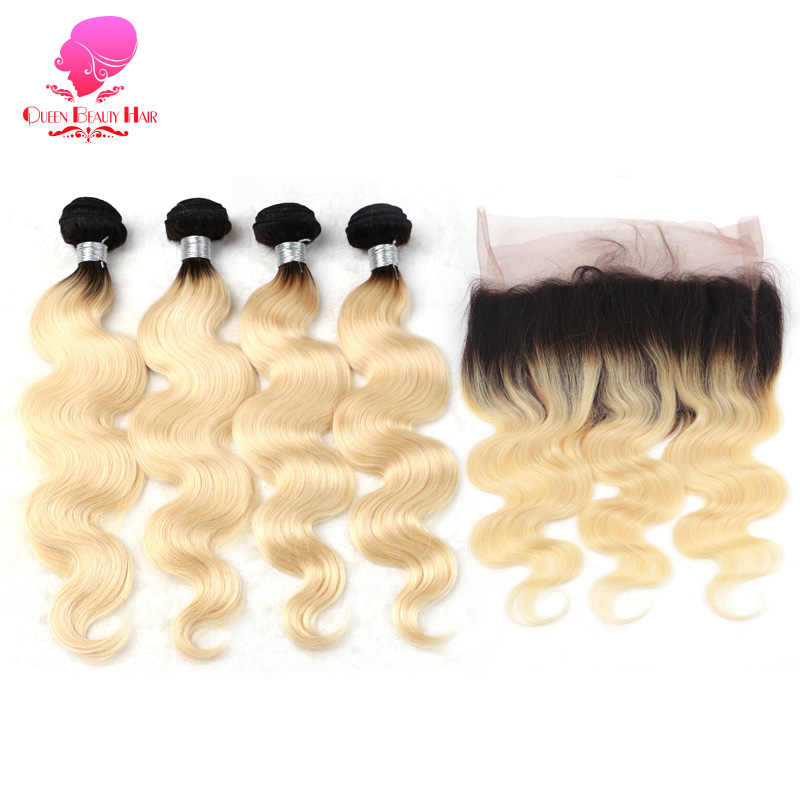 QUEEN 1B 613 Ombre Blonde Human Hair 360 Lace Frontal with Bundle Pre Plucked Brazilian Remy Bodywave 3 4 Bundels with Closure