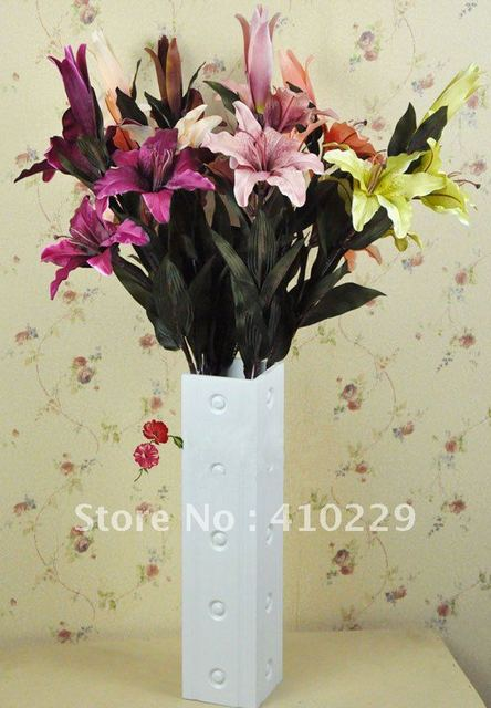 Free Shipping (6pcs/lot) 6 Colors Lily Artificial Flower, Wedding & Home Decoration