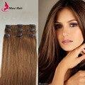 Muse belleza Clip en extensiones de cabello europea de pelo recto Natural negro marrón oscuro Fantastic trama del pelo cinta 3 unids Soft Hair