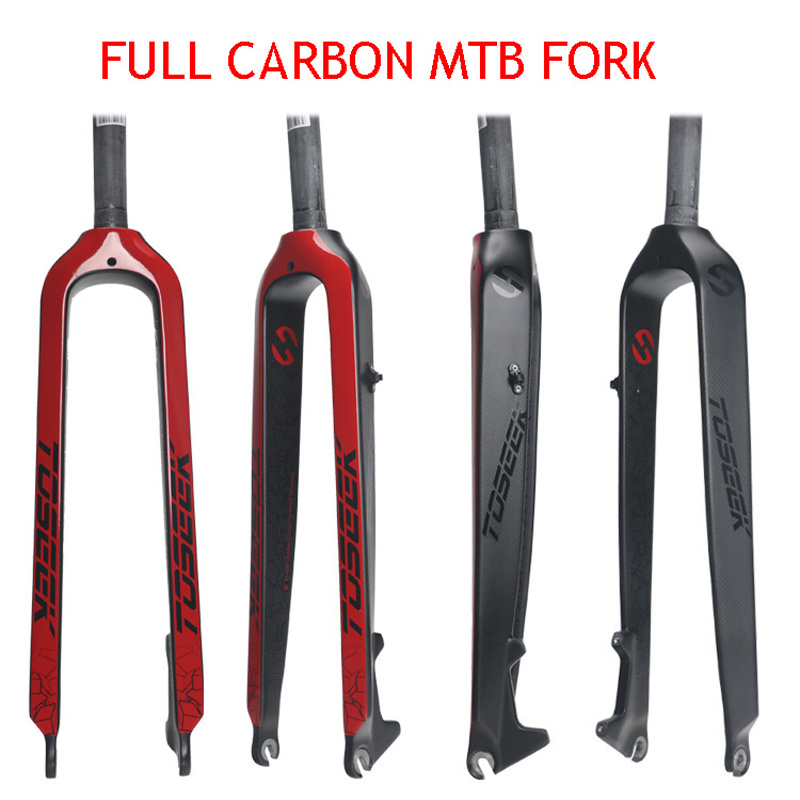 2018 TOSEEK  Full carbon fiber Bicycle Fork Mtb Road Mountain Bike fork 26/27.5/ 29inch 3K gloss matt 1-1/8  Bike Parts new asiacom full carbon fiber cycling bicycle crank mtb road bike crankset length 170mm ultra light mountain bicycle parts