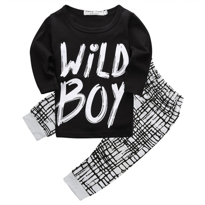 2Pcs Newborn Baby Boys Outfits Clothes Sets Kids Short Sleeve Tops T-shirt+Plaid Pants Letter Print Cotton Outfit