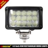 Flood headlight beams 12V 24V 6x4 led rectangular headlights 45W IP67 15leds led work lights for Case IH New holland farm x1pc