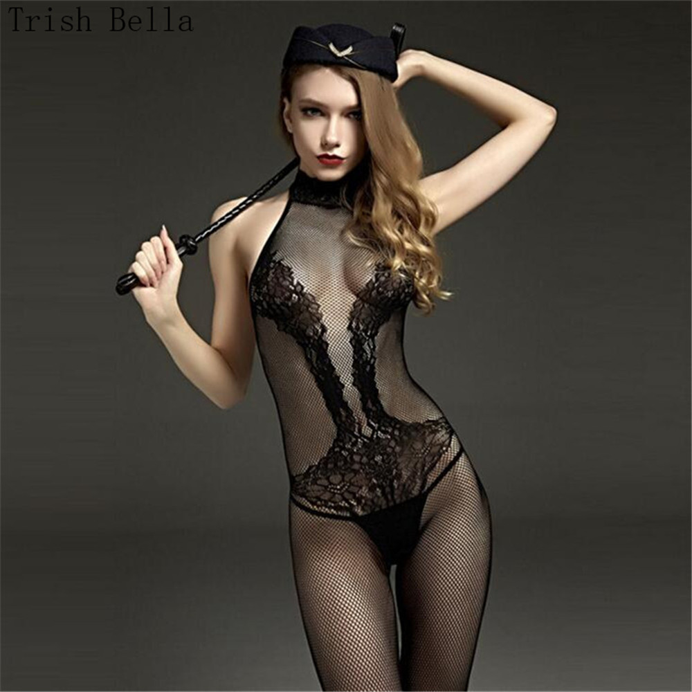 Buy transparent Jacquard weave High collar Sleeveless Tighten Conjoined lingerie bodystocking body sexy costumes catsuit open crotch