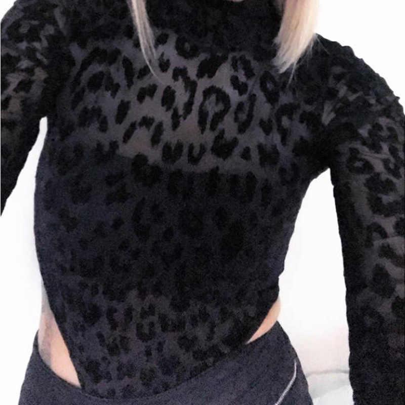 Криптографических модная леопардовая расцветка пикантные Длинные рукава боди водолазка bodycon комбинезон для женщин осень костюм тела one piece