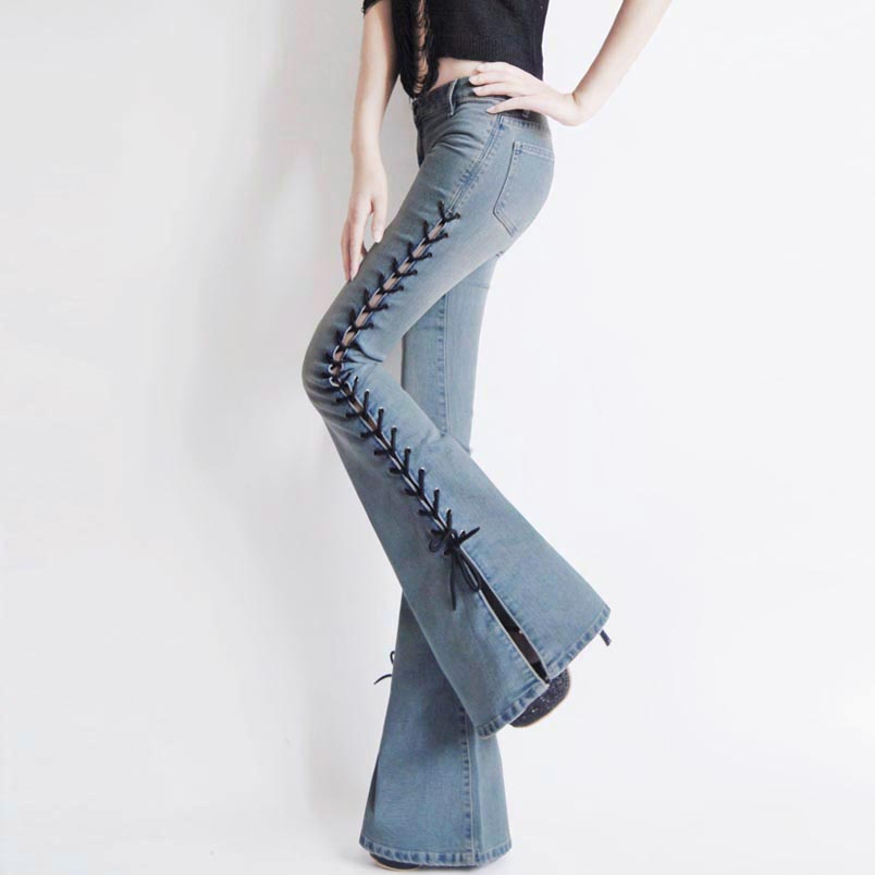 ФОТО Bell-bottoms jeans spring new long strap split pants Ms. Slim hip big horn jeans trousers