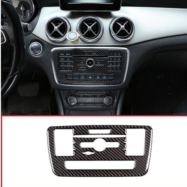 Véritable autocollant de décoration de Mode CD de Console centrale de voiture de Fiber de carbone pour Mercedes Benz GLA CLA classe A W176 C117 X156 2015-18