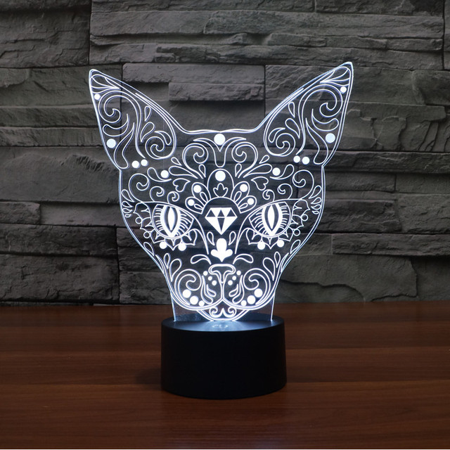 Elegante 3D Pequeño Gato Forma Nocturna Centellante Sensor Interruptor Botton Escritorio Lámpara de Lectura