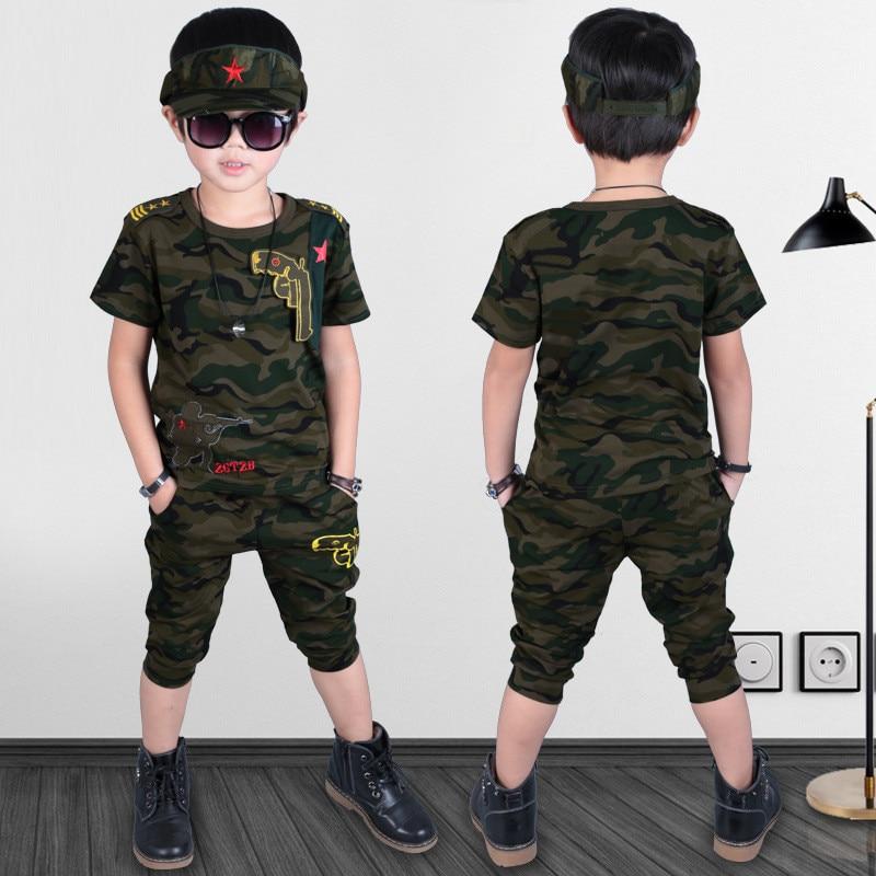 100% katun kualitas Tinggi 2017 musim panas kamuflase olahraga sesuai army gun kid anak pakaian gadis boy pakaian set untuk 3-10