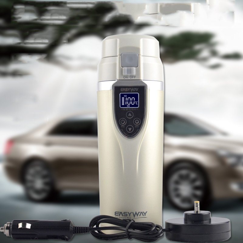 Newest DC12V Car Cigarette Lighter Heating Cup Kettle Insulated Stainless Steel Water Heater Mug Boiling Travel Coffee