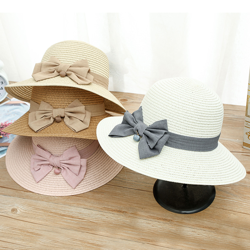 Fashion Ladies Sun Hats Skullies & Beanies Children Bow Beach Big Brim Casual Summer Straw Cap For Girls
