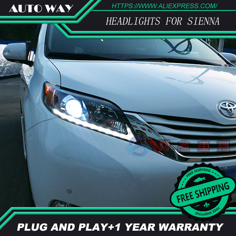Car Styling Head Lamp case for Toyota Sienna Headlights LED Headlight DRL Daytime Running Light Bi-Xenon Lens HID Double car styling auto headlight headlamp for toyota corolla 2013 2014 2015 bifocal lens guiding light best quality daytime running