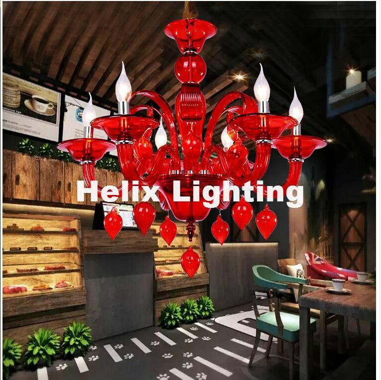 Бесплатная доставка D60cm 6L красного и зеленого цвета с украшением в виде кристаллов люстра светодиодный Candelabro для Кофе Магазин Бар малыш Сов