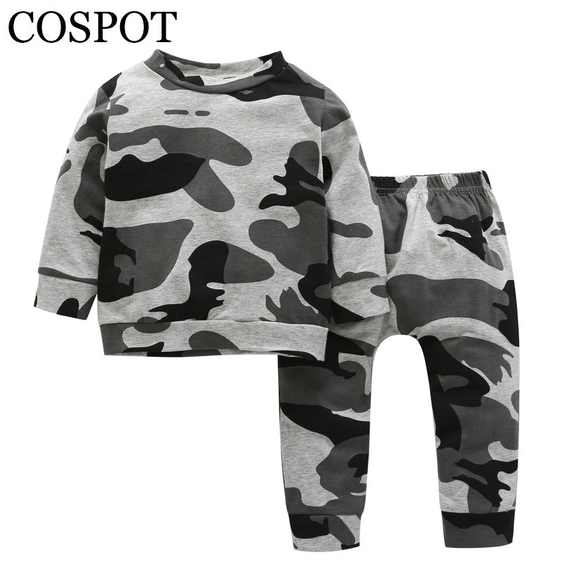 COSPOT 2018 New Baby Boys Clothing Set Sweatshirt+Pants Spring Cotton Camouflage Children Sets Suits Kids Girls Boy Clothes 30C 2018 new children clothing set england kids clothes gentleman boys party wedding suits baby boy formal plaid long sleeved sets
