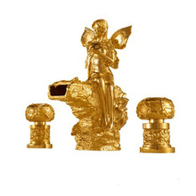 Free shipping PVD GOLD finish 3 Pcs ROMAN lovely girl tub faucet flowers fairy girl mixer tap