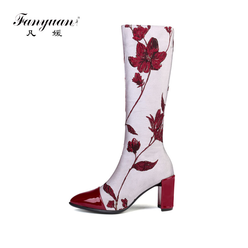 Patrón Estilo Fanyuan Alto Zapatos La Tacón Botas Nacional Mujer w7Bq0PzZx