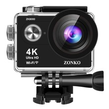 цена на ZONKO Action Camera  4K Ultra HD WIFI Sports Camera, 12MP 170 Degree Wide-Angle Lens, 30M Waterproof  Camera  2'' LCD Camcorder