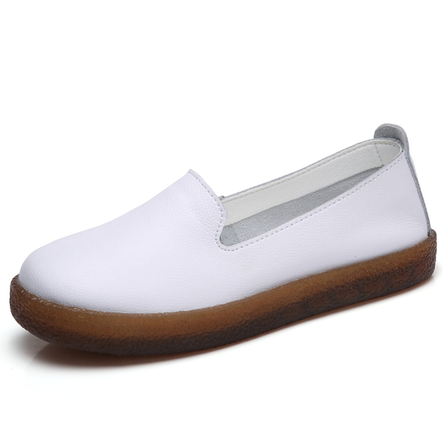 O16U Women Flats Shoes Genuine Leather Slip-on Round Toe Muscle Sole Ladies casual Shoes Comfortable Soft Shoes Female Fall 1