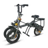 one button fast folding electric bicycle three-wheeled electric bicycle double battery fashion parent-child Travel bicycle