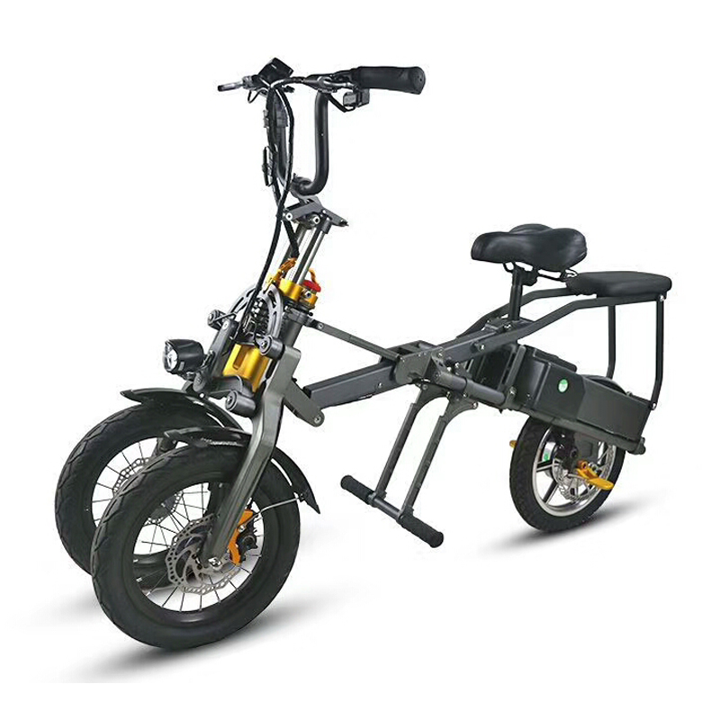 one button fast folding electric bicycle three wheeled electric bicycle double battery fashion parent child Travel bicycle