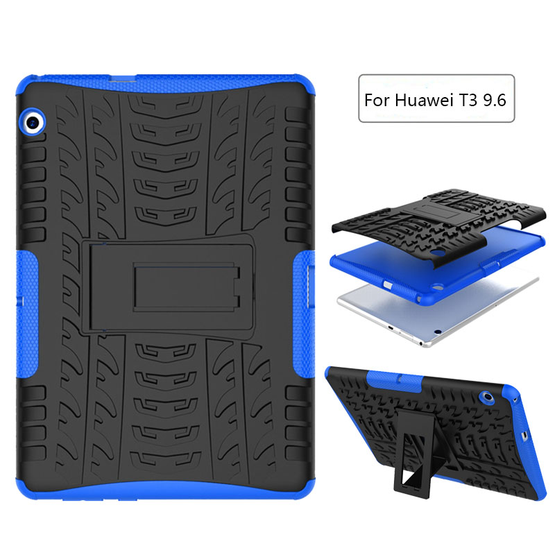 Shockproof Heavy Duty Impact Hybrid Armor Kick stand Hard case For Huawei MediaPad T3 10 AGS-L09 AGS-L03 9.6 inch child cover case for huawei honor 7x shockproof with stand 360 rotation back cover contrast color hard pc
