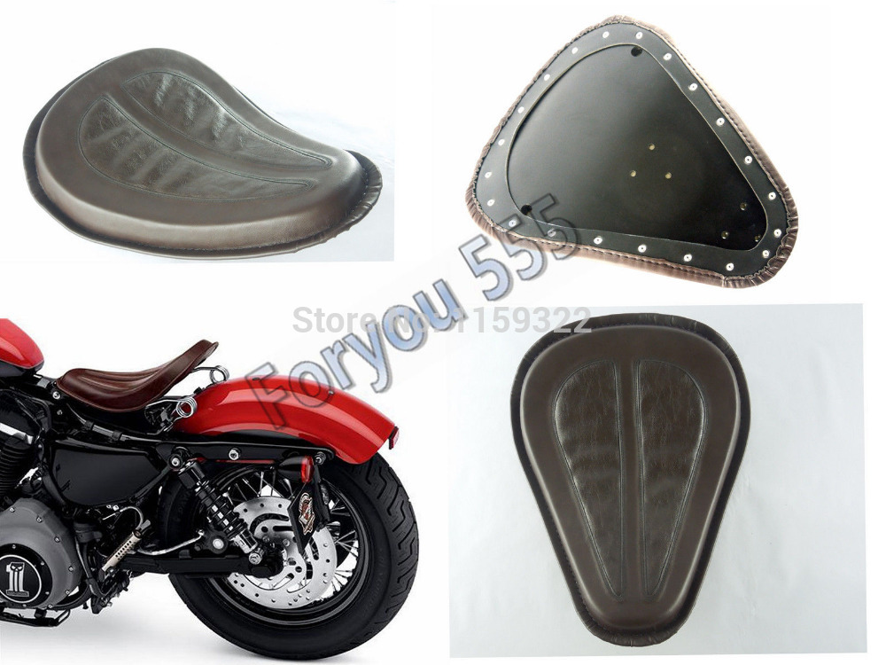 UNDEFINED Motorcycle Vintage PU Leather Brackets Springs Solo Seat Saddle For Harley Dyna Softail Sportster Touring 883 1200 Xl