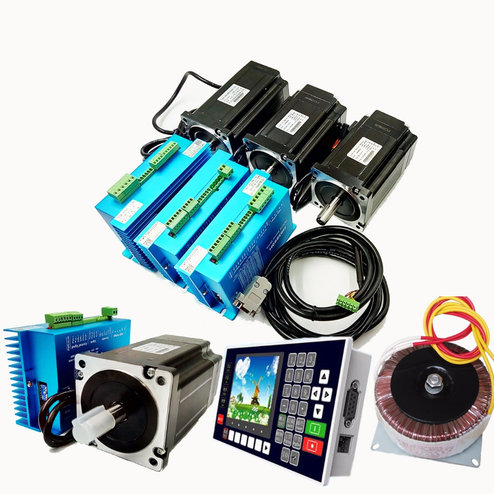 4 Axis NEMA34 2Phase 60VAC 5.6A 12N.m Closed Loop Stepper Kit Driver+Motor+Controller+60VAC Transformer for CNC Motion Control