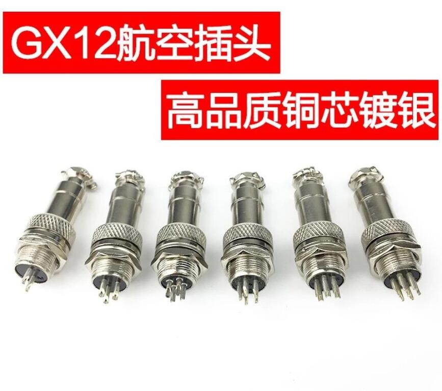 5Set=10pcs/lot 7/16 GX12 Aviation Circular Connector 2 Pin 3pin 4pin 5pin 6pin 7pin Male Plug& Female Socket 12mm DF12 M12 diy 12mm 3 pin gx12 aviation plug connector silver 4 pcs