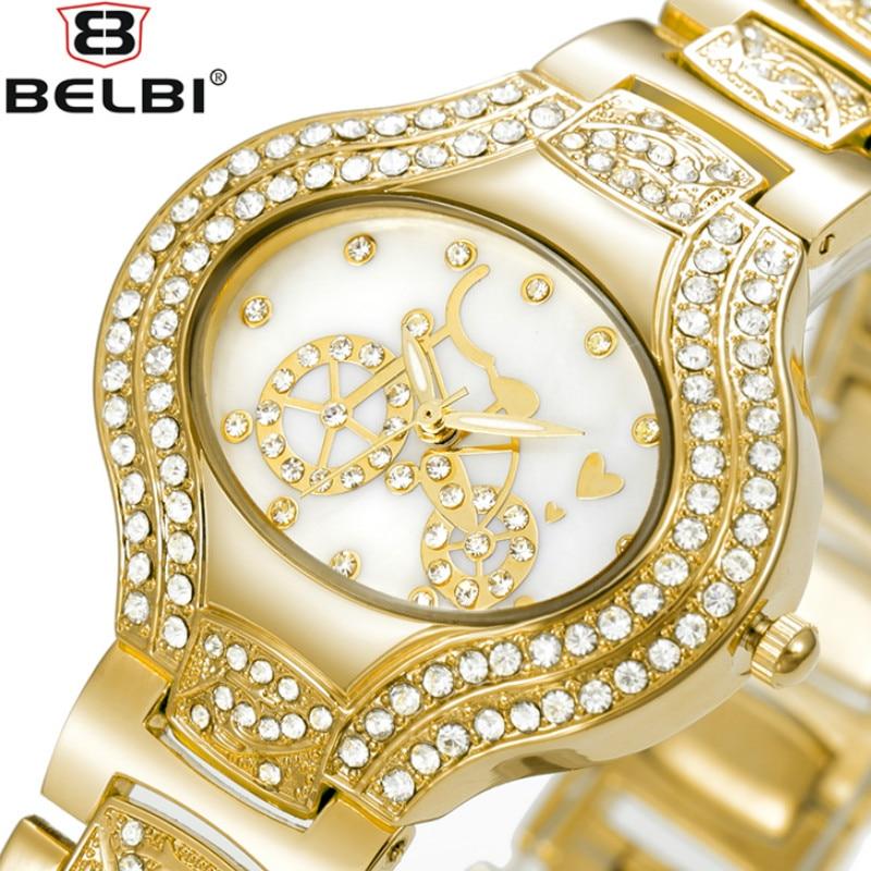 BELBI Women Gold Watch Rhinestone Quartz-watch Steel Movement Quartz- Watches цены онлайн