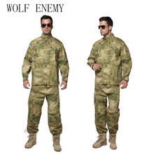 U.S Army BDU German Camouflage suit Tactical Military combat Airsoft uniform -jacket + pants men medical clothing set(China)