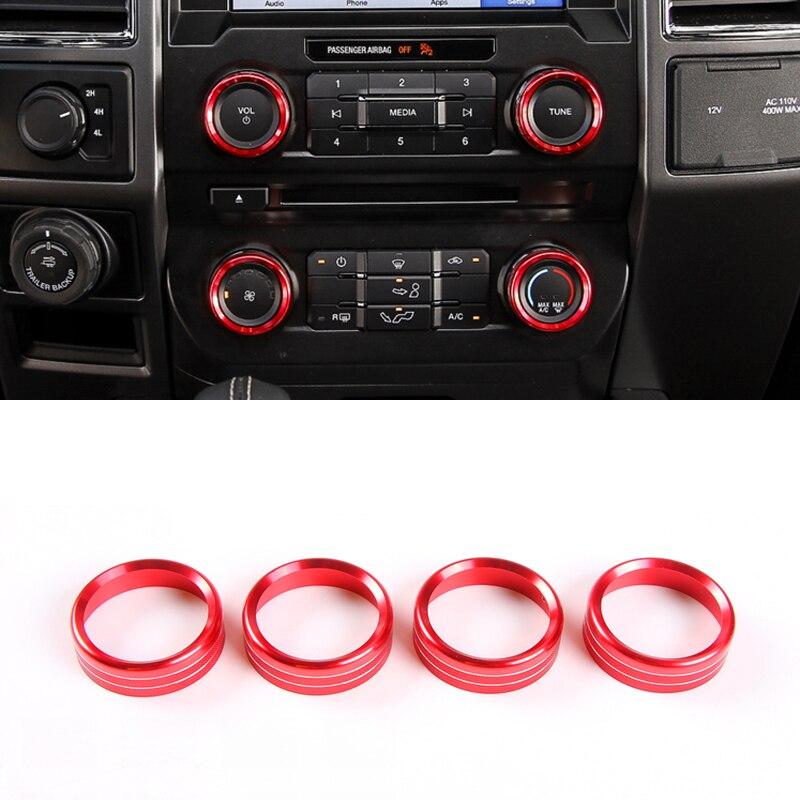 Alliage d'aluminium rouge/bleu climatisation bouton interrupteur anneau garniture 4 pièces pour Ford Expedition 2018