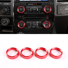 Alluminium Alloy Red/ Blue Air Conditioning Button Switch Ring Trim 4 PCS For Ford Expedition 2018