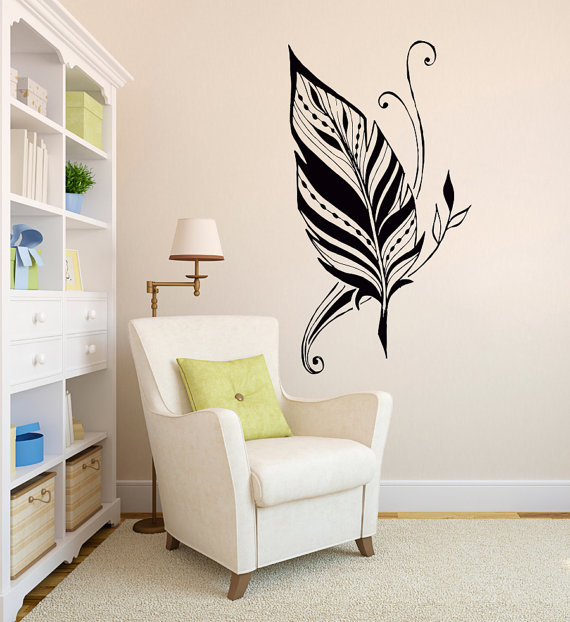 Art Design Feathers Home Amulet Symbol Beautiful Wall Sticker Bedroom Decorative Special Wallpaper