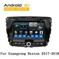 2 Din Android автомобильный Радио Для Ssangyong Rexton 2017 2018 с головным устройством gps iPod AUX Bluetooth видео дисплей YouTube без dvd плеер