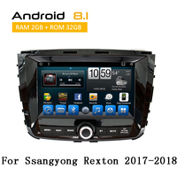 2 Din Android Car Radio for Ssangyong Rexton 2017 2018 with Head Unit GPS iPod AUX Bluetooth Video Display YouTube no dvd player