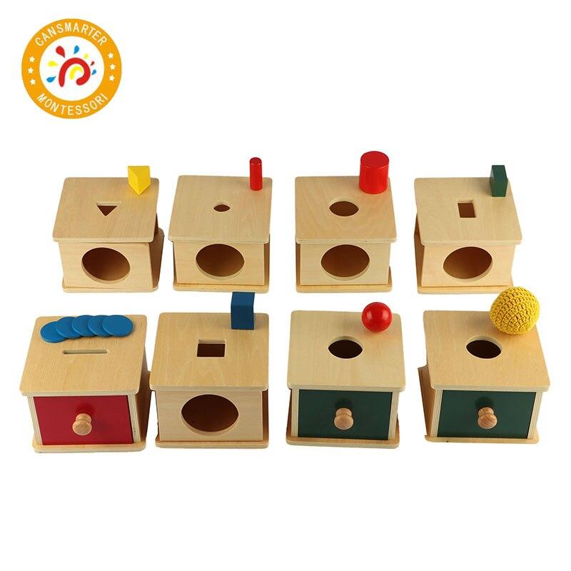 Montessori enfants éducatifs aides pédagogiques en bois boîte Imbucare série huit pièces costume enfant jouet