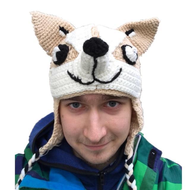 e2206bf46 US $21.0 30% OFF|Cool Fashion Hat Dog Beanie Cosmetic Hat for Winter Shiba  Inu Hat Cute Doggies Puppy Crochet Beanie 100% Handmade Cartoon Animal-in  ...